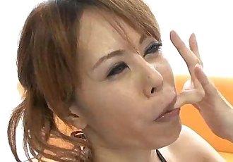 Horny Japanese Cutie Moe Aizawa Sucking a Beef Snake - 5 min