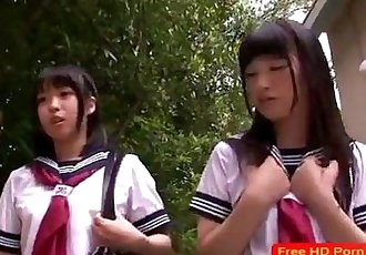 Petite Japanese schoolgirls love threeway - 8 min