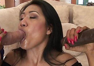 Busty Asian slut fucked in a hot double penatration session - 8 min HD