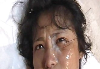 Bubble Butt Asian Gets A Massive Facial After Doggy! - 8 min