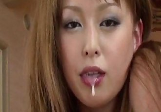 Ichika enticing Tokyo doll sucks cock in harsh double blowjob - 10 min