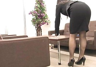 Asian office worker rubs her wet pussy up - 1 min 1 sec