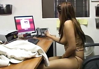 Asian slut has a wank job on a leather chair - 7 min