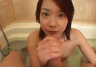 Asian slut sucks on the tip in the bathroom - 8 min