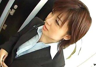 Yukino undresses office suit while sucking - 10 min