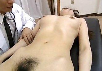 Saki Shiina has hairy cunt measured and sucks doctor phallus - 10 min