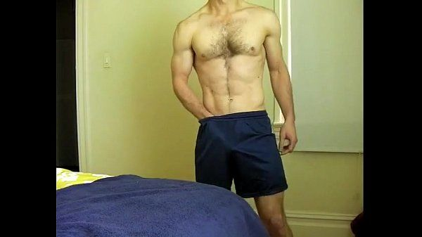 toned slightly hairy chest guy strip-jo-cum on standing