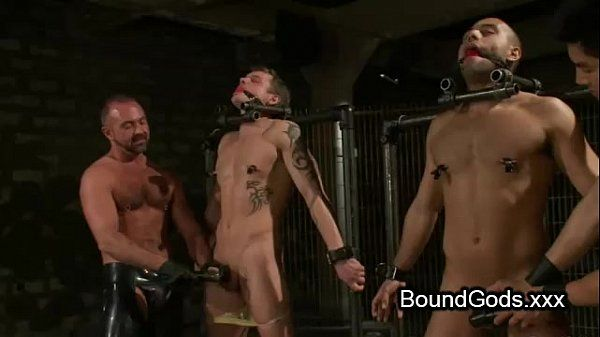 Two on two in bdsm gay sex with cumshot