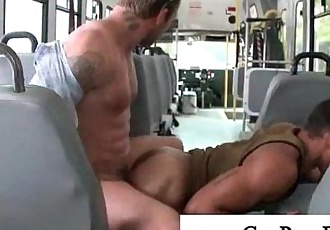 Gay guy receives anal from bus passengers