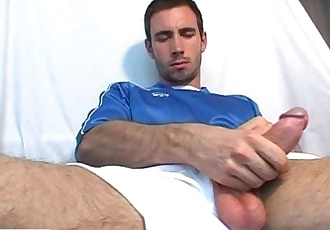 Ludo, A soccer player get wanked his huge cock by us!