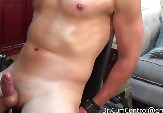 Chinese stud is gagged, edged and cums three times