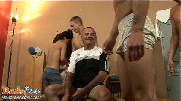 Nasty gay coach enjoying team play as a warm-up