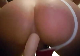 Bubble butt riding my sloppy ass on a dildo
