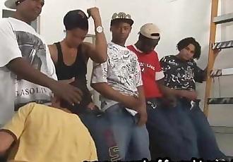 5 Black Thugs Gangbang Local Boy In Abandoned Warehouse