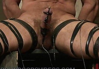 Tied up gay electro shocked and whipped and fucked