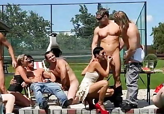 Dirty bisexual cock play orgy