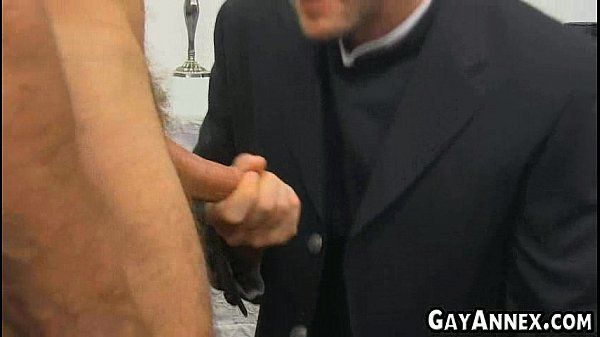 Horny priest fucking guy from church