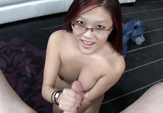 Nerdy Asian Cum on Tits - 11 min
