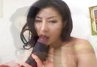 Chie Asada sucks dildo before riding it a lot - 10 min