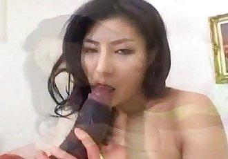 Chie Asada sucks dildo before riding it a lot - 10 min