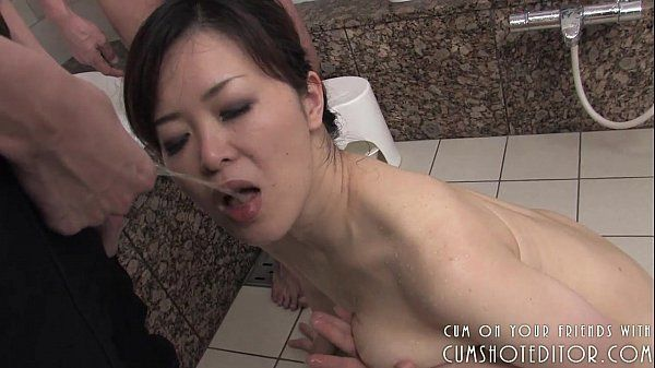Submissive Japanese Slut Pleasing Cock In The Bathroom