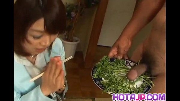 Mitsu Anno gets cock deepthroat and cum in mouth in food fetish