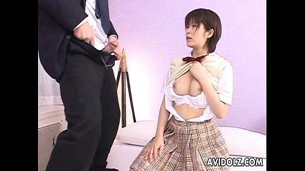Asian slut sucking hard on the big fat dick