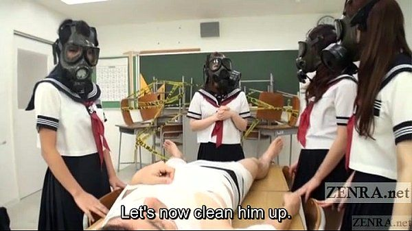 CFNM Gas Mask Japanese schoolgirls inspection Subtitled
