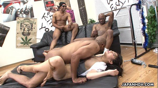 Three black men destroy the Asian sluts pussy HD