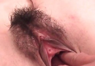Teen jap seductress pleasured in her hairy muff with fingers - 5 min