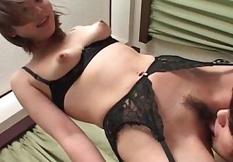 Teen jap cutie flashing perky tits gets hairy beaver licked good - 5 min