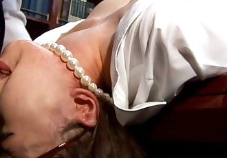 Asian babe secretary mouth fucked on desk - 6 min