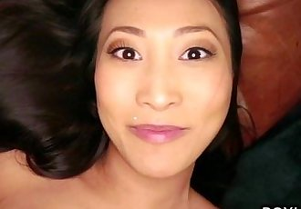 Busty Asian amateur takes multiple orgasms pov - 10 min HD