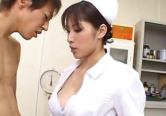 Horny Nurse Riko Tachibana big blowjob with cum swallow - 5 min