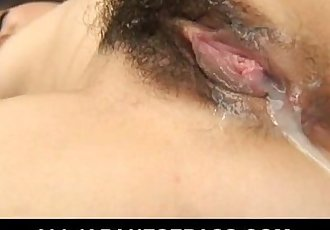 Hairy Asian beauty bends over for a hard bangin - 7 min