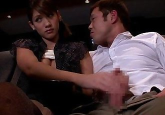Japanese babe tugging and sucking in cinema - 8 min