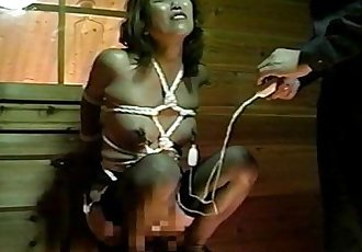 Asian freak on a chair straddles a sex toy - 8 min