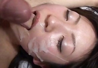 Japanese AV Model gets a lot of cum on face after doggy style - 10 min