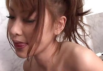 Asian squirter blows her stud in the shower to cum - 6 min