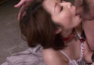 Mature asian blows three studs in a foursome on her knees - 6 min