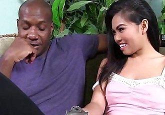 Asian gets interracial with big black cock - 10 min