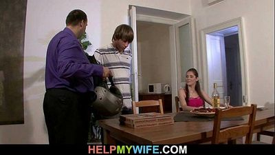 Sultry wife cheats on husband with pizza guy - 6 min