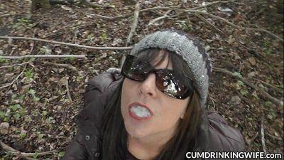 Naughty slutwife eats dozens of cumshots - 6 min HD