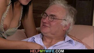 Old hubby watches his sweet wife fuck - 6 min