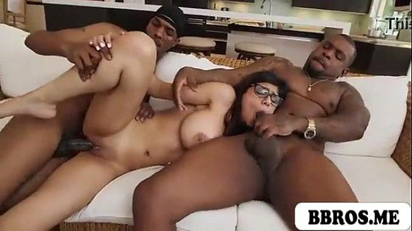 MIA KHALIFA HOT SEXY TEEN BRUNETTE FUCKED BY TWO BLACK MONSTER COCKS