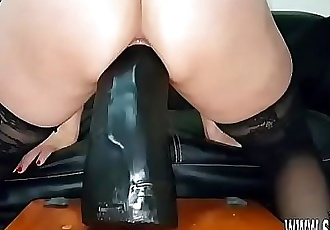 Sarah fucks colossal dildos in her greedy pussy 7 min