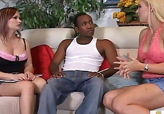 Two sexy white MILFs double-team a black stud