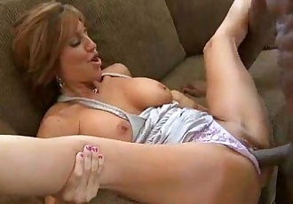 Hot MILF deepthroats gags and gets banged by a black cock 25