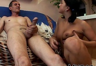 LUCKY OLD GUY FUCKS SEXY BRUNETTE !! - 6 min HD
