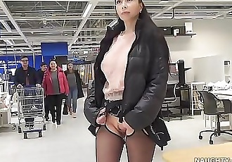 Short skirt and sheer blouse for flashing and public upskirt 2 min HD+